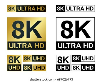 8k Ultra Hd icon. Vector 8K UHD TV symbol of High Definition monitor display resolution standard