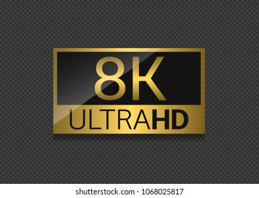 8K Ultra HD label. High technology, highest TV set resolution