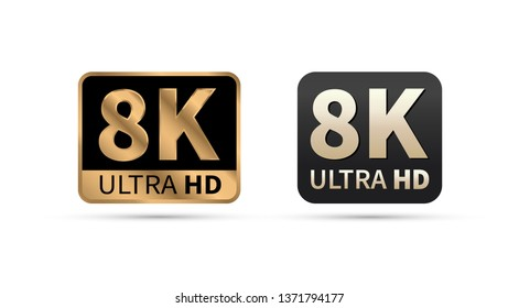 8K Ultra HD sign. Vector illustration. on white background