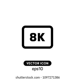 8K Video Format Symbol Vector Icon Illustration For Web And Mobile Application.Ui/Ux.