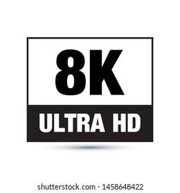 8K video format symbol vector Icon. Design for web and mobile application. Ui/Ux. Eps 10 vector illustration.