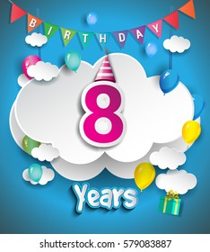 8th Anniversary Celebration Design, with clouds and balloons, confetti. Vector template elements for your, eight years birthday celebration party.