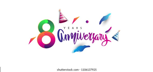 8th anniversary celebration logotype and anniversary calligraphy text colorful design, celebration birthday design on white background.