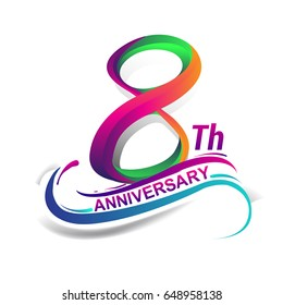 8th anniversary celebration logotype green and red colored. eight years birthday logo on white background