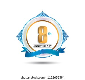 8th anniversary design golden color on circle with blue ornament and ribbon for celebration event