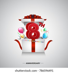 8th anniversary design with red number inside gift box isolated on white background for celebration event