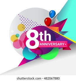 8th Anniversary logo, Colorful geometric background vector design template elements for your birthday celebration.