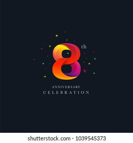 8th Anniversary Logo Design, Number 8 Icon Vector Template.
