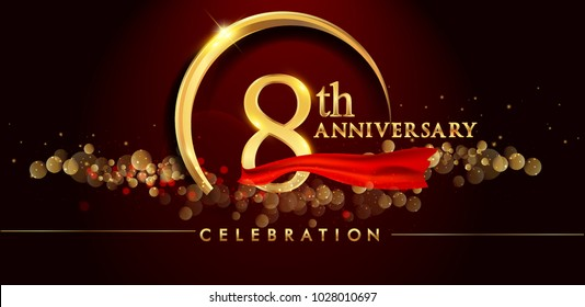 8th anniversary logo with golden ring, confetti and red ribbon isolated on elegant black background, sparkle, vector design for greeting card and invitation card