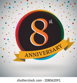 8th Anniversary poster / template design in retro style - Vector Background