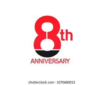 8th anniversary red and black design simple isolated on white background for celebration