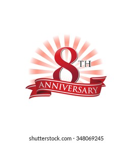 8th anniversary ribbon logo with red rays of light