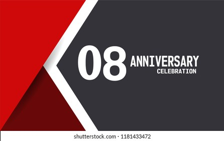 8th Anniversary simple design with white, black, and red background. White flat number