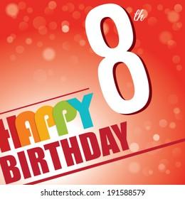8th Birthday party invite/template design in bright and colourful retro style - Vector
