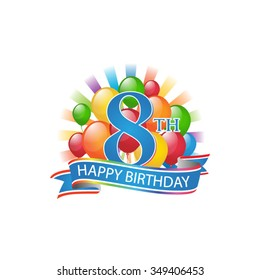 8th colorful happy birthday logo with balloons and burst of light