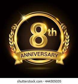 8th golden anniversary logo, 8 years anniversary celebration with ring and ribbon, Golden anniversary laurel wreath design.