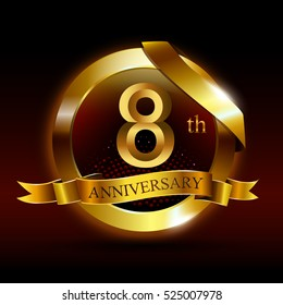 8th golden anniversary logo with ring and ribbon, on black background vector design.