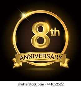 8th golden anniversary logo, with shiny ring and ribbon, laurel wreath isolated on black background, vector design
