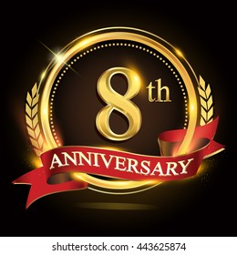 8th golden anniversary logo, with shiny ring and red ribbon, laurel wreath isolated on black background, vector design for birthday celebration.