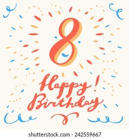8th happy birthday card.