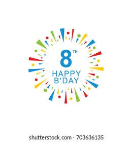 8th Happy Birthday logo, circle shape, colorful sunburst, red blue green yellow color