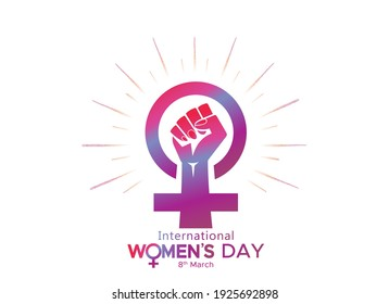 8th March, International women's day with woman sign, fist hand and typography