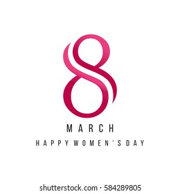 8th March Ribbon Lettering. 8th March Happy Women Day background