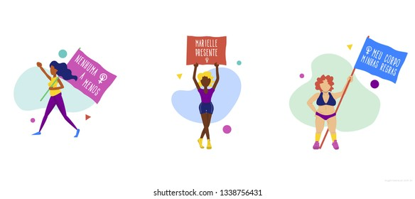 8th of March women's manifestation in Brazil in vector illustration