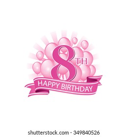 8th pink happy birthday logo with balloons and burst of light