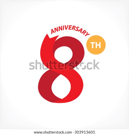 8th year anniversary stock vector royalty free 303913601