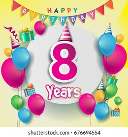 8th Years Anniversary Celebration Birthday Card Or Greeting Design With Gift Box And Balloons