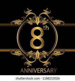 8th years anniversary celebration. 8th anniversary logo with gold color, foil, sparkle