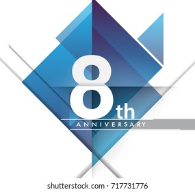 8th years anniversary logo, vector design birthday celebration with geometric isolated on white background.