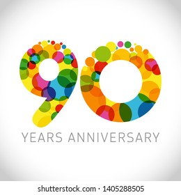 9 0 th anniversary numbers. 90 years old multicolored logotype. Congrats 90th greetings, congratulation idea. Isolated abstract graphic design template. Coloured digits up to -90% percent off discount