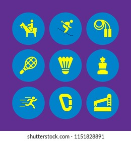 9 action icons in vector set. runer silhouette running fast, man riding a horse, swimming pool and sports and competition illustration for web and graphic design