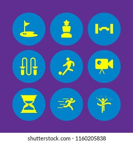 9 action icons in vector set. runer silhouette running fast, sports and competition, video camera and kick illustration for web and graphic design