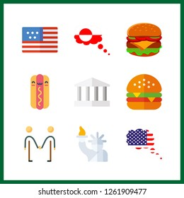 9 american icon. Vector illustration american set. grandland and friendly icons for american works