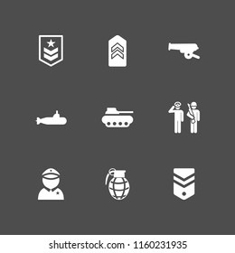 9 armed icons in vector set. military, salute, war and hand grenade illustration for web and graphic design