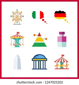 9 attraction icon. Vector illustration attraction set. germany and ferris whell icons for attraction works