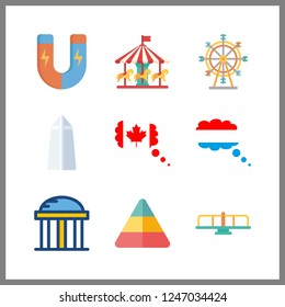 9 attraction icon. Vector illustration attraction set. temple and ferris whell icons for attraction works