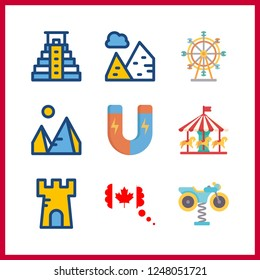 9 attraction icon. Vector illustration attraction set. canada and ferris whell icons for attraction works