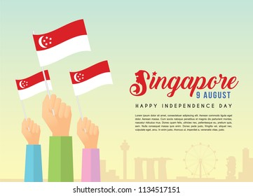 9 August - Singapore Independence Day illustration of citizen with Singapore flags and city skyline. Poster template design.