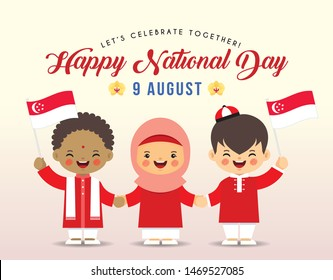 9 August - Singapore Independence Day illustration. Cute cartoon kids of Malay, Indian & Chinese holding hands together with Singapore flag.