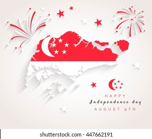 9 August. Singapore Independence Day greeting card. Celebration background with fireworks, map, flag and text. Vector illustration