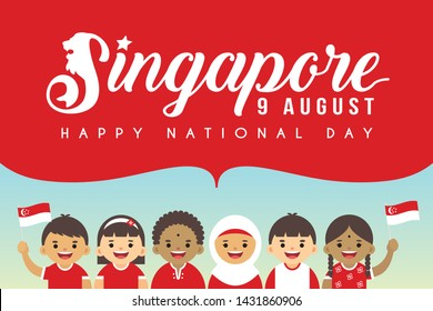 9 August - Singapore National Day illustration. Cute cartoon kids of Malay, Indian & Chinese with Singapore flag.