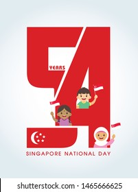 9 August - Singapore National Day. 54 years abstract art and Singapore citizen waving flag isolated on white background.