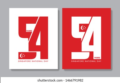 9 August - Singapore National Day. 54 years abstract art isolated on white and red background.