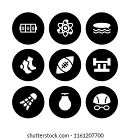 9 ball icons in vector set. atom, slots coincidence, punching ball and cotton illustration for web and graphic design
