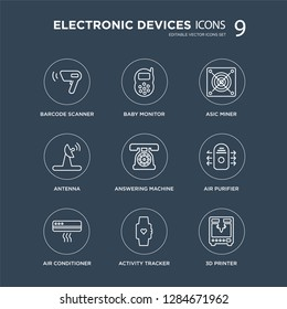 9 Barcode scanner, baby monitor, Air conditioner, purifier, answering machine, asic miner, Antenna, Activity tracker modern icons on black background, vector illustration, eps10, trendy icon set.