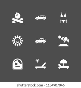 9 beach icons in vector set. jeep, hammock, bikini and summer illustration for web and graphic design